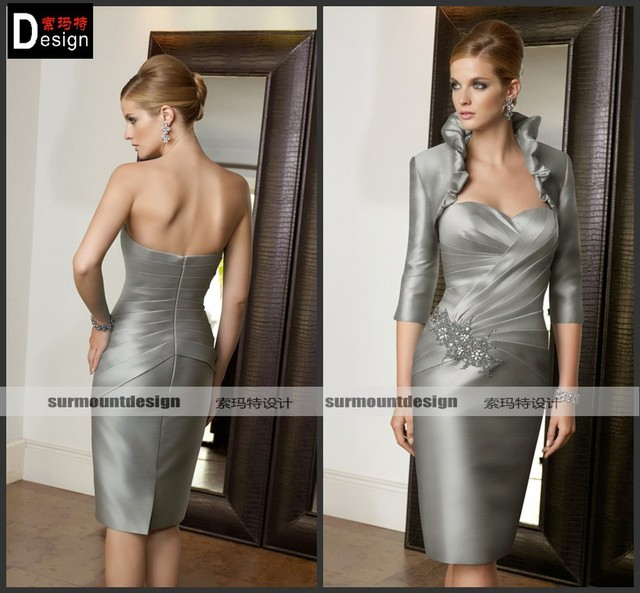 483d9c635f5 Elegant Silver Satin Knee Length Short Petite Mother of the Bride Dresses  With jacket
