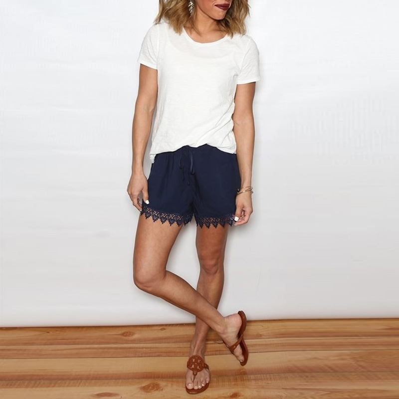 Summer Occident Women Casual Loose Lace-up Chiffon Short Pants Lace Shorts