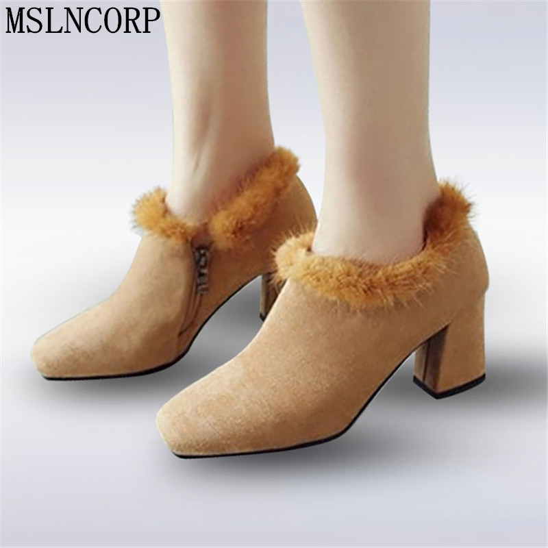 Size 34 44 Real Fur Boots Spring Autumn Thick Plush Square Heel Ankle Boots Women Medium Heel Square Toe Rex Rabbit Fur Pumps in Ankle Boots from Shoes