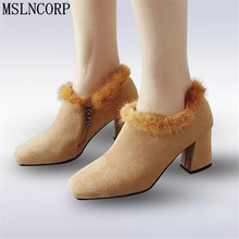 Size 34-44 Real Fur Boots Spring Autumn Thick Plush Square Heel Ankle Women Medium Toe Rex Rabbit Pumps