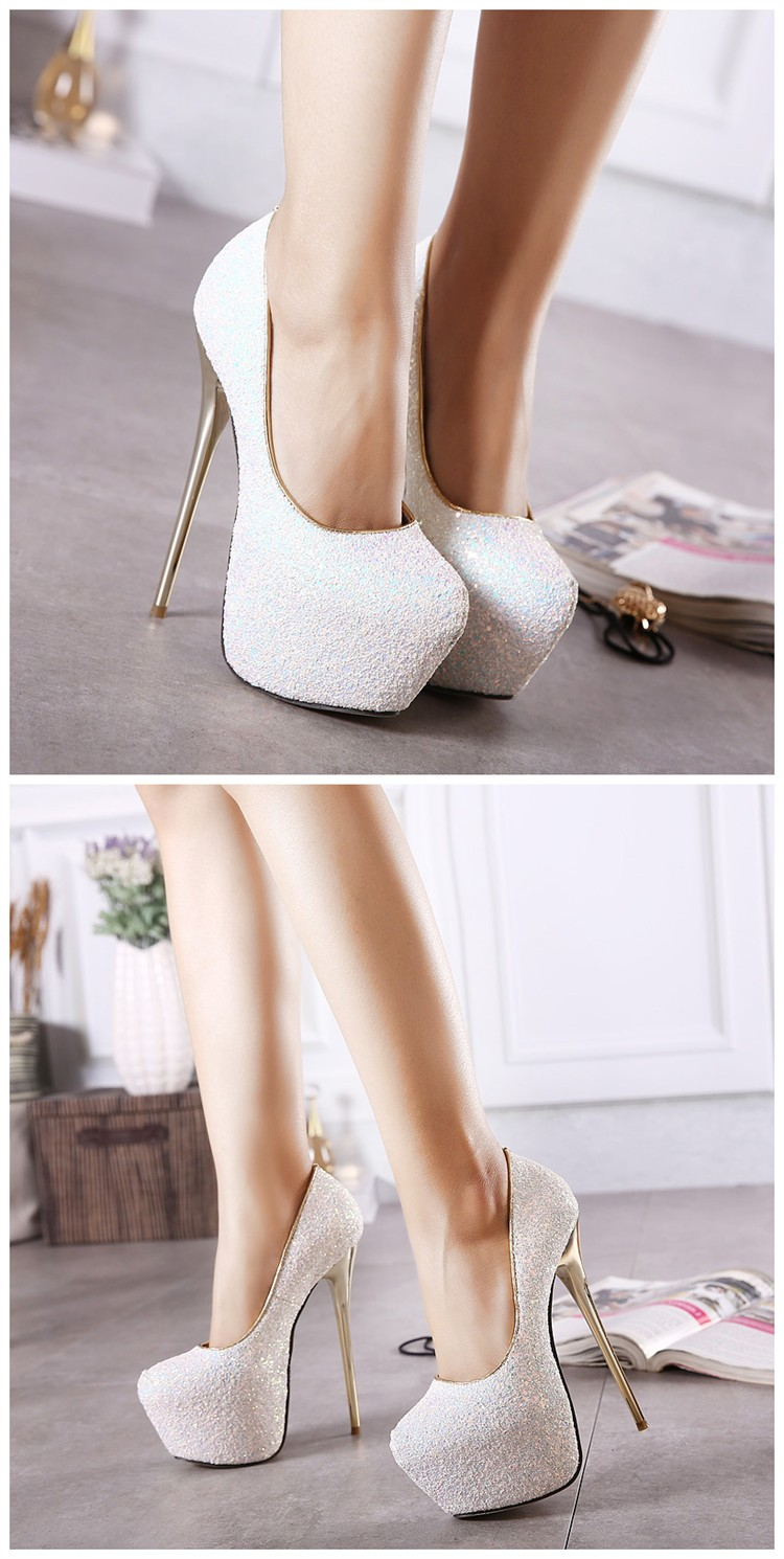 Gdgydh Fashion Women Platform Shoes 2017 New Spring Autumn Bling Women Pumps Thin Heels Sexy Slim Party Shoes High Heels 7