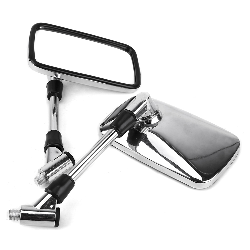 UNIVERSAL Motorcycle Side Rear View Mirror Chrome 10mm Rectangle