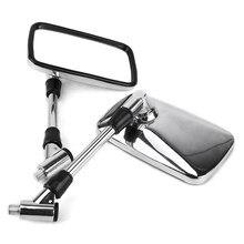 Frete grátis universal motocicleta espelho retrovisor lateral chrome 10mm retângulo