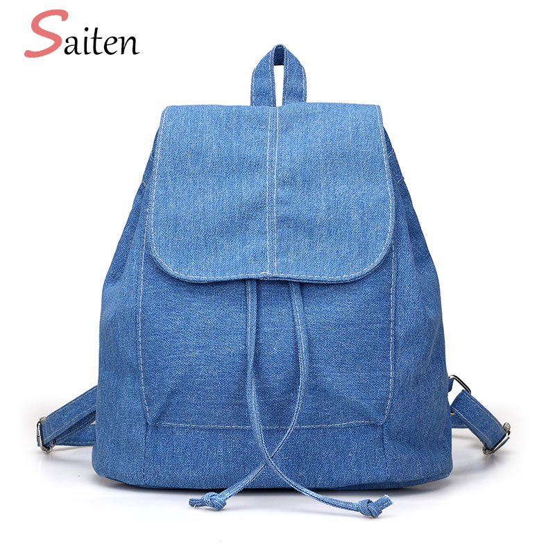 2017 New Denim Canvas Women Backpack Drawstring School Bags For Teenagers Girls Small Backpack Female Rucksack Mochilas Feminina