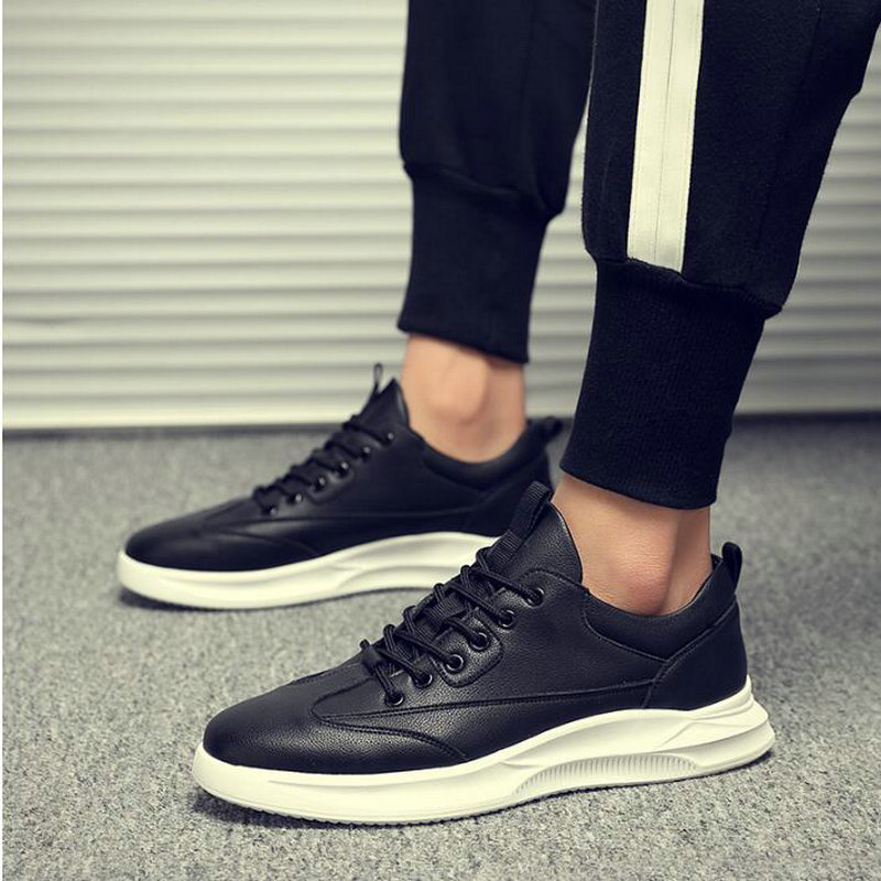 Brand Breathable  Men Flats Fashion Genuine Leather Casual Sneaker Flats Shoes Men's  Black White Shoes Top Quality Shoes A52-66