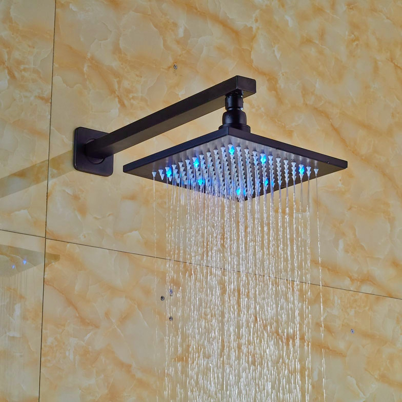 LED Light 8-in Oil Rubbed Broze Shower Head+Shower Arm Wall Mounted Rainfall Shower Head free shipping wall mounted brushed nickle led light showerhead with shower arm 8 10 12 inch