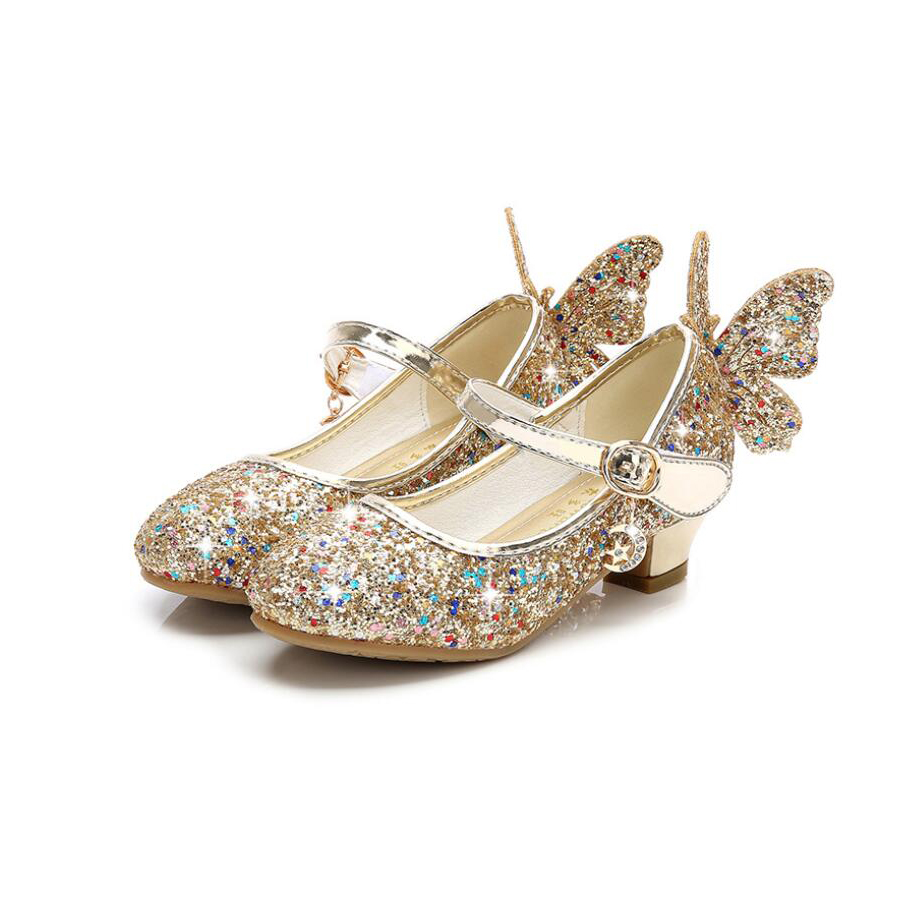 Children Girls Leather Shoes For Birthday Party High Heels Shoes 2019 Kids Girl Princess Sandals Glitter Sequin Gold Girls Shoes