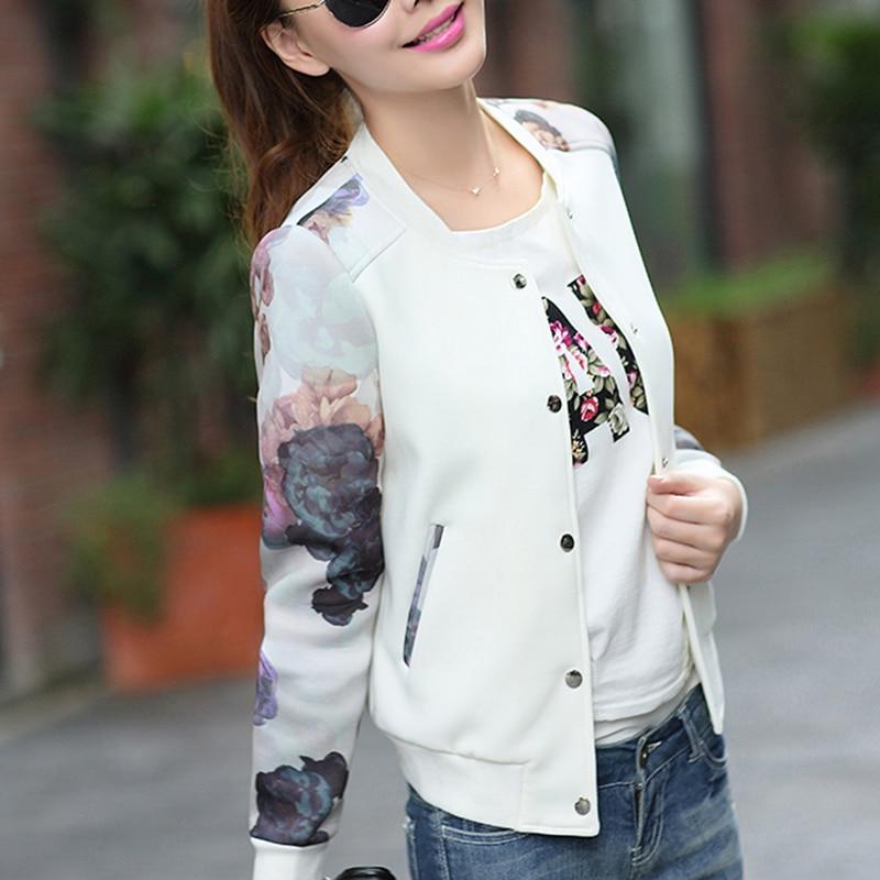 Women Jacket Flower Print 2019 Tops Girl Plus Size Casual Baseball Women Clothing Button Thin Bomber Long Sleeves Coat Jackets