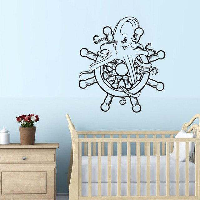 Marine Octopus Hold The Ship Wheel Vinyl Wall Sticker Funny Octopus Art Wall  Decals Home Decor