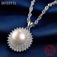New Arrivals 925 Silver Charm Necklace Round 12mm Pearl Pendant Women Necklace Luxury Sterling Silver Jewelry
