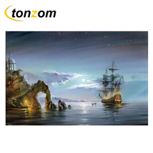 RIHE Moon Sea Drawing By Number DIY Boat Painting Handwork On Island Cuadros Decoracion Oil Art Coloring Home Decor