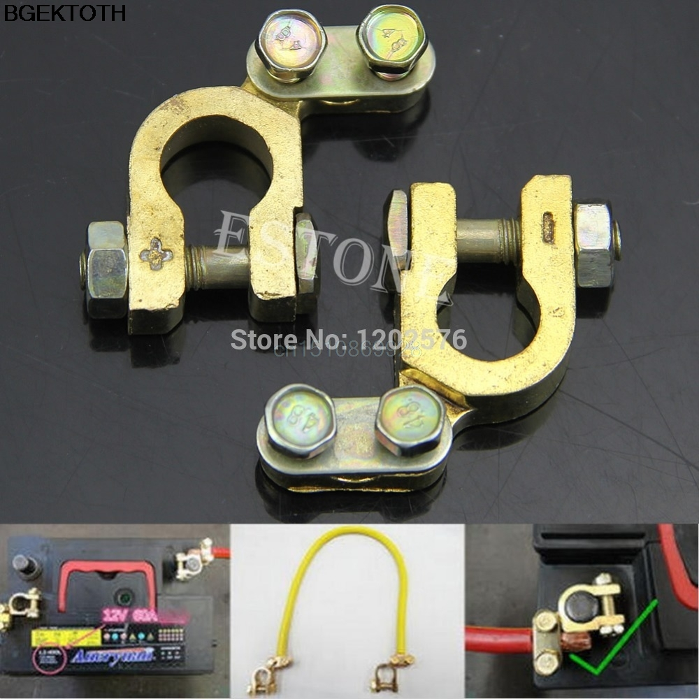 Auto Car 2Pcs Replacement Battery Terminal Clamp Clips Brass Connector M126 Hot Sell leige lgb 40 car battery terminal clamp golden 2 pcs