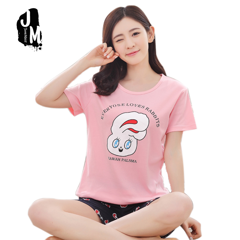 Woman 100%   pajama     sets   spring summer comfortable lovely cartoon   pajamas   for girls sleepwear homewear pyjama femme Plus size XXXL