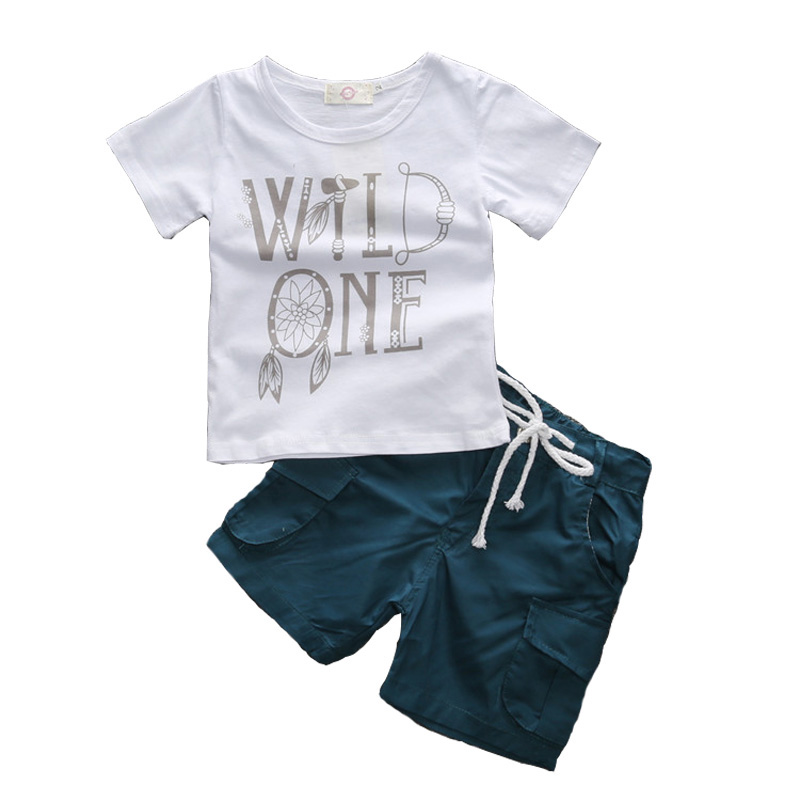 Casual Summer Kids Boys Clothing Sets 100% Cotton Letter Short Sleeve O-neck T-ShIrt And Short Pants Children Boy Clothes Suits kids girls summer 2014 new o neck short sleeve floral sports suits fashion print cartoon clothing sets t shirts and pants h2691