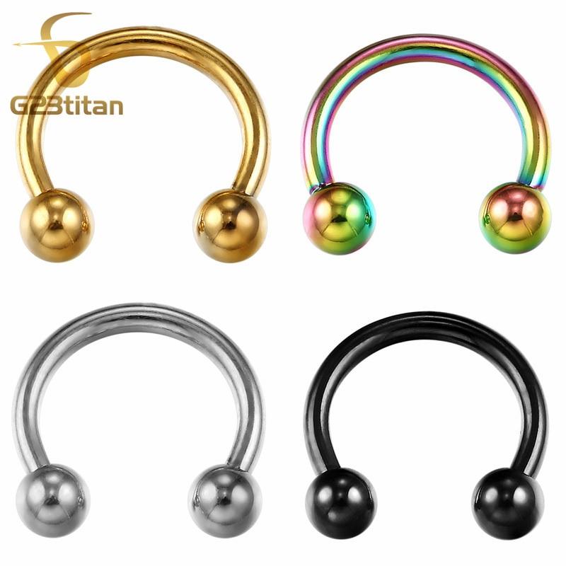 G23titan G23 Titanium circulaire Barbell neusringen & noppen Piercing ombligo sieraden SGS-certificering