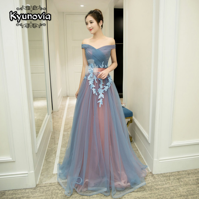 2 Styles Sleeveless Floor Length Prom Dress Lace Up Long Prom Dress Blue Strapless Evening Dress Appliques Prom Dresses FD29 1