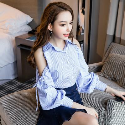 TUHAO 2018 Spring Women set Office Lady Work Wear Sexy Off Shoulder Striped Lantern Sleeve Blouse Denim Empire Skirt Suits MA18
