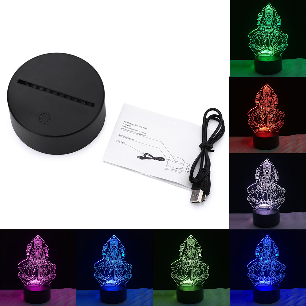 Beautiful 3D Buddha LED Night Light USB Touch Table Lamp as Decoration Christmas Holiday Lights Four hand figure of Buddha