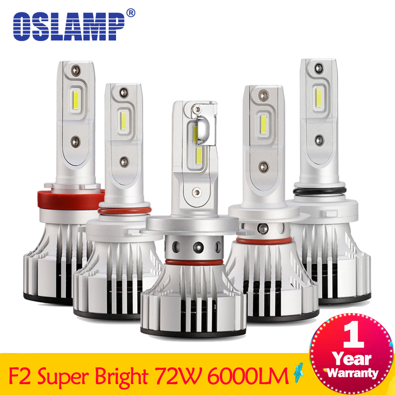Oslamp F2 Series H4 H7 Led Headlight LED 72W 6000LM 6500K 9005 9006 H11 Headlamp Bulbs Car Auto LED Fog Light 12V Car Light