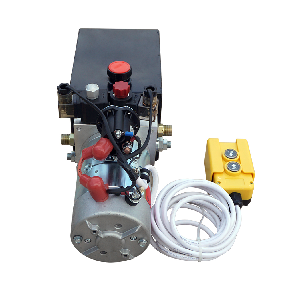 Trailer Pump 4 Quart 12V Electric Hydraulic Power Double Acting Power-Up Supply Unit For Dump Truck Quart Double Acting