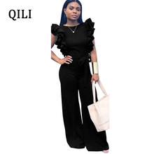 75db32f59b8 QILI Women Backless Jumpsuits Elegant Ruffles Solid Color Wide Leg Jumpsuit  Womens Rompers 2019 Fashion Black