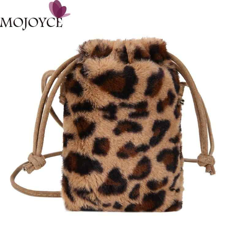 Fashion Leopard Print Crossbody Bags for Women Plush Drawstring Lady Bucket  Bag Girls Leopard print bolsa