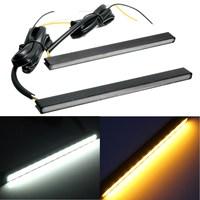 Audew 12V 2Pcs Universal 15LED Daytime Running Light DRL Turn Signal Indicator Light White Amber