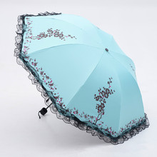 6 Colors Plum Flower Blossom Parasol lace three folding umbrella UV brand Sunny / Rain parasol lace sun umbrella rain women(China)