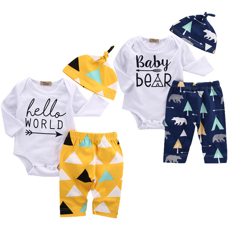 3pcs Newborn Girl Boy Baby Clothes Set Bear Cotton Romper Pants Cute Hat Baby Coming Home Outfits Set 2pcs set baby clothes set boy