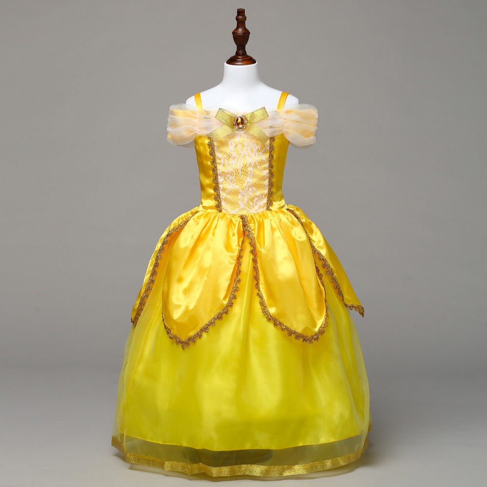 Beauty And The Beast Kids Girls Belle Costume Christmas Carnival Halloween Masquerade Fantasia Dress Cosplay Matching Clothes