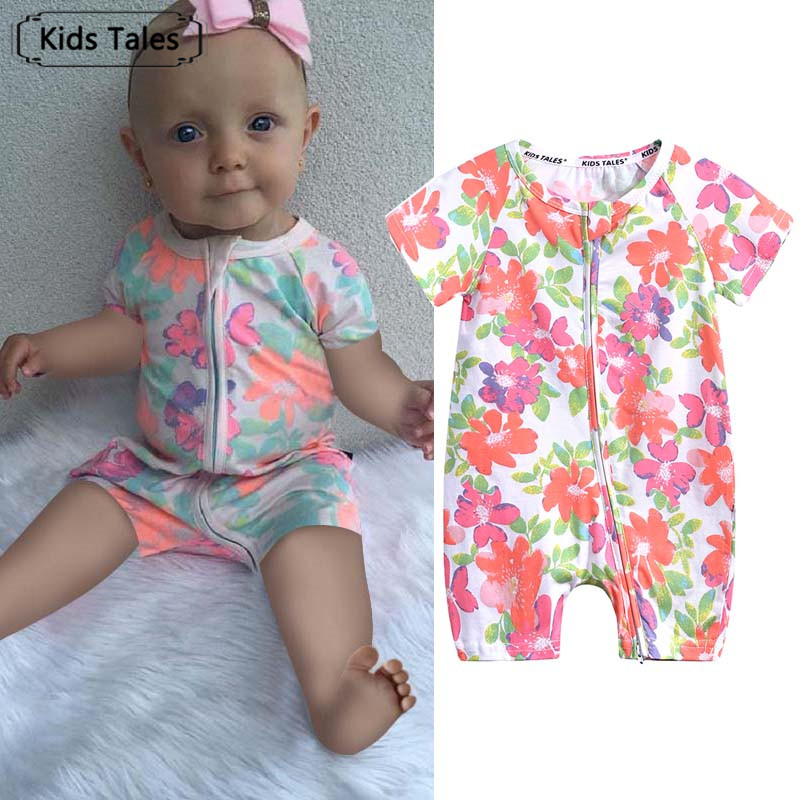 SR364 Baby Short Sleeve One-piece Jumpsuit Baby Rompers Newborn Infant Cotton Clothes Boy Girl Floral Print Kids Clothes Outfit