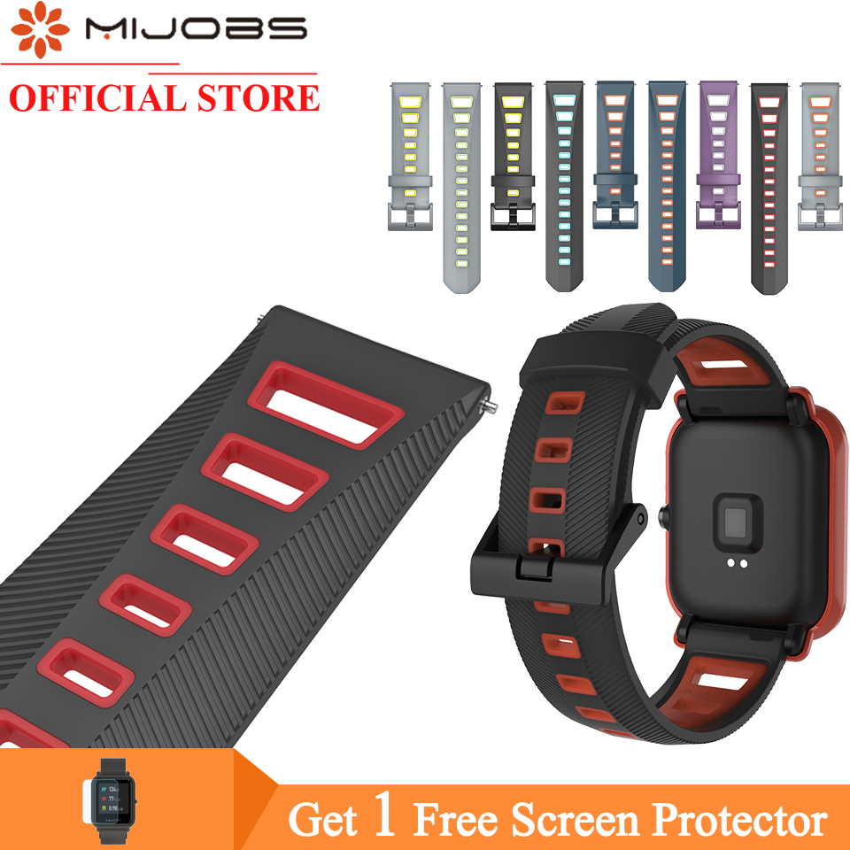 Mijobs Silicone Watch Strap For Xiaomi Amazfit Bip Wrist Band Strap For Xiaomi Amazfit GTS Bip Wristband Bracelet Stratos 2 Pace