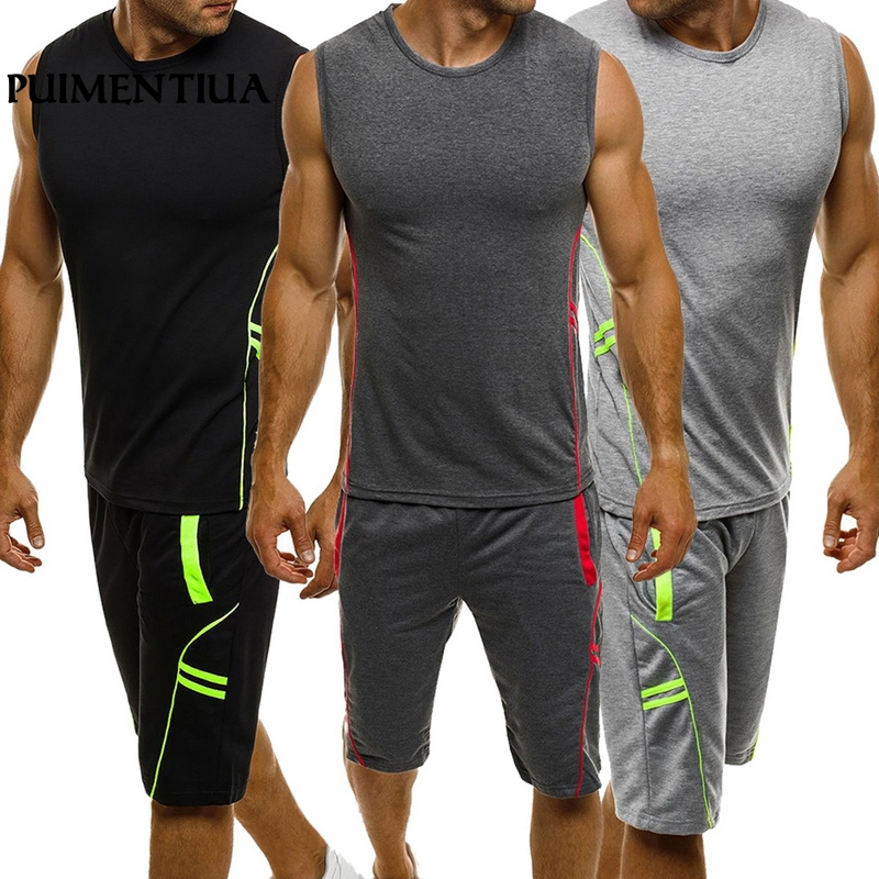 Puimentiua 2019 Summer Men's Casual Slim Fit Sleeveless Fashion   Tank     Top   and Shorts 2 Piece Gym Workout Sport Suit Set