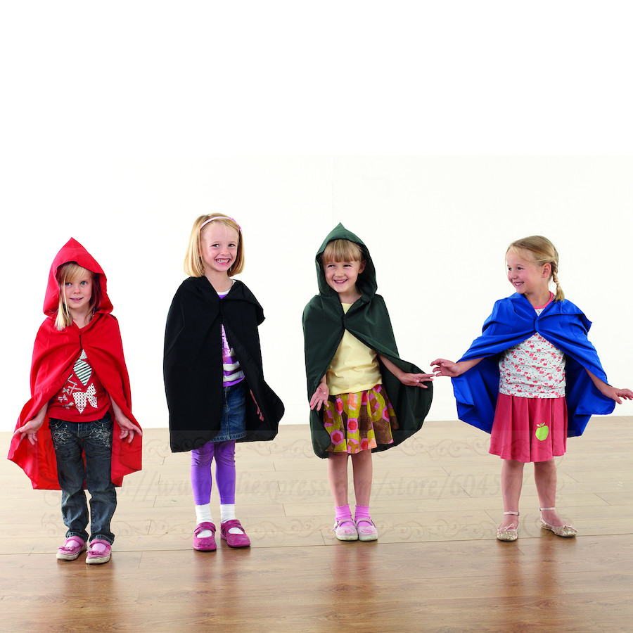 Kids Role Play Dressing Up Coloured Cloaks Blue Black Red Plain cloaks
