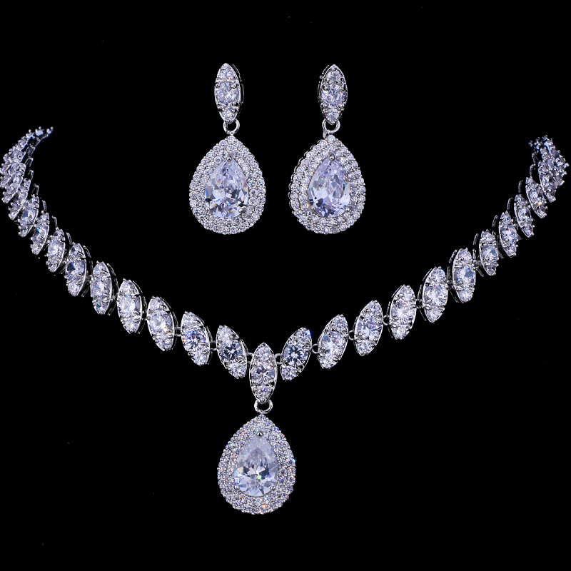 Emmaya Necklace-Sets Bridal-Jewelry-Sets Parure Silver-Color Femme Simulated Wedding title=