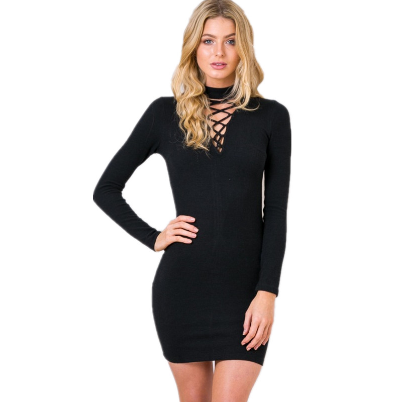 2016 Autumn Black Sexy Knitted Dress Women winter elegant bodycon dress High Neck Bandage Short sweater dresses Casual vestidos black casual knitted high neck curved hem sweater