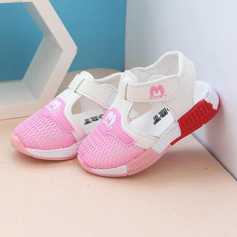 Sapatos VENDA quente Do Bebê 2018 Verão Nova Moda Net Respirável Sandálias Do Bebê Das Meninas Dos Meninos Da Criança Crianças Casual Sapatos de Desporto Branco rosa