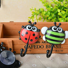 2PCS Creative Ladybug Bee Cartoon Bathroom Wall Hooks Sucker Nail Hook Wall Decor Wall Hooks Hanger Kitchen Bathroom Suction Cup(China)