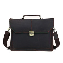 Genuine Leather Men Briefcase Fit For 14 Inch Laptop Vintage Style Hasp Closure Business Handbag With Canvas Strap PR571078