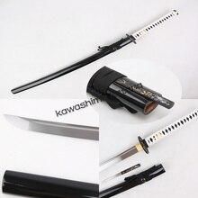 Handmade Samurai Sword Katana Full Tang Sharp Edge Carbon Steel Black Scabbard Small Knife Inside