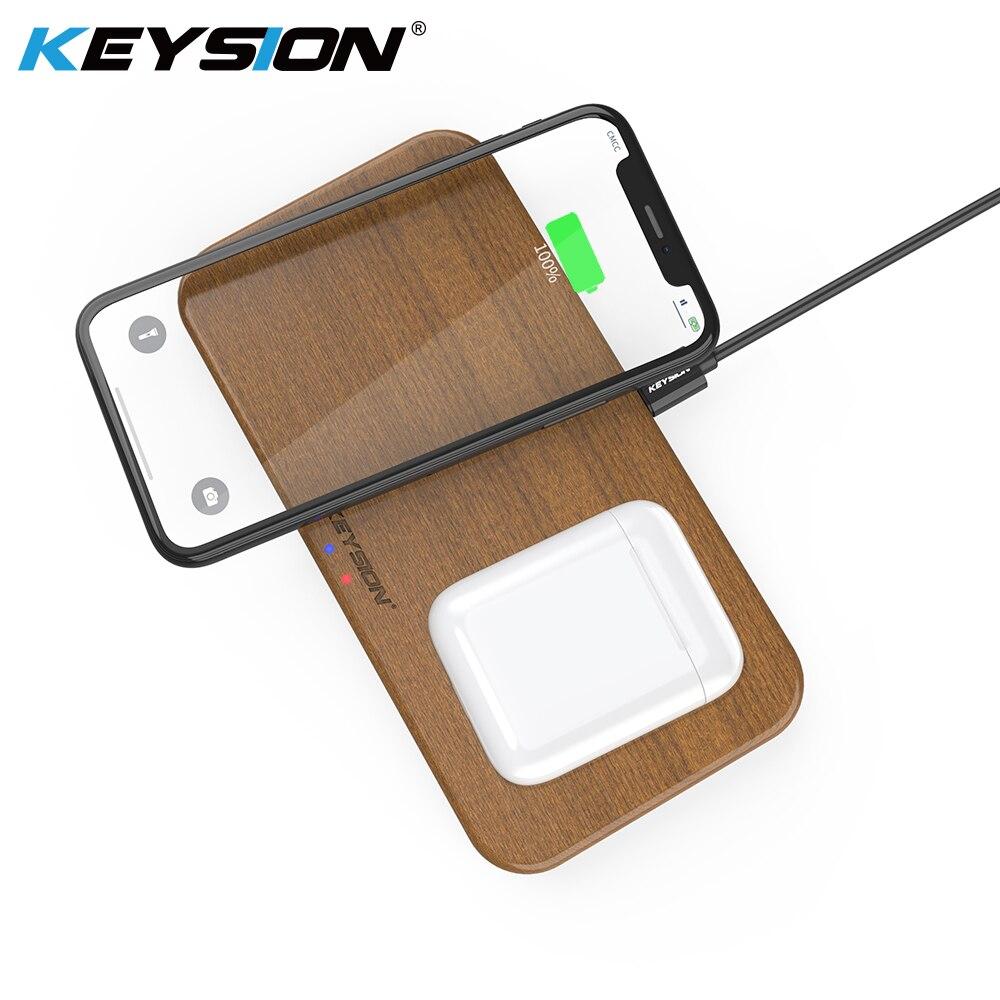 KEYSION double chargeur sans fil 5 bobines Qi chargeur rapide Compatible pour iPhone X XS Max Samsung S10 S9 nouveaux AirPods Xiao mi mi 9