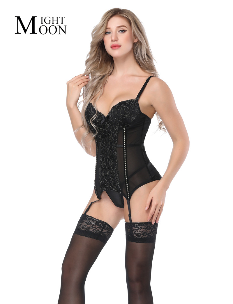 MOONIGHT Sexy Lace   Corset   Tops Female Slimming   Bustier     Corset   Hooks Back   Corset   with Straps