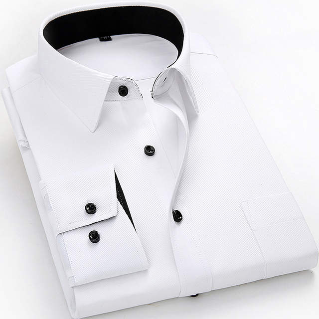 Plus Size 4XL 5XL 6XL 7XL 8XL Men Dress Shirts Long Sleeve Solid White  Color Man Business Formal Work Shirts Male Casual Tops