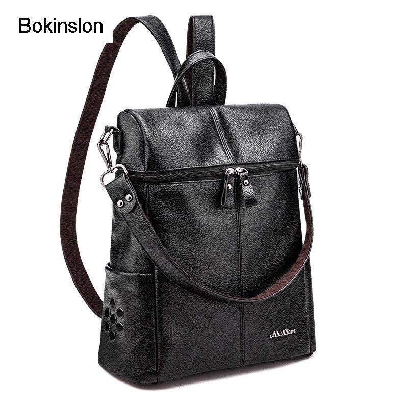 Bokinslon Girls College Backpack All-Match Cow Split Leather Bag Backpack Female College Wind Women Designer Backpack Casual