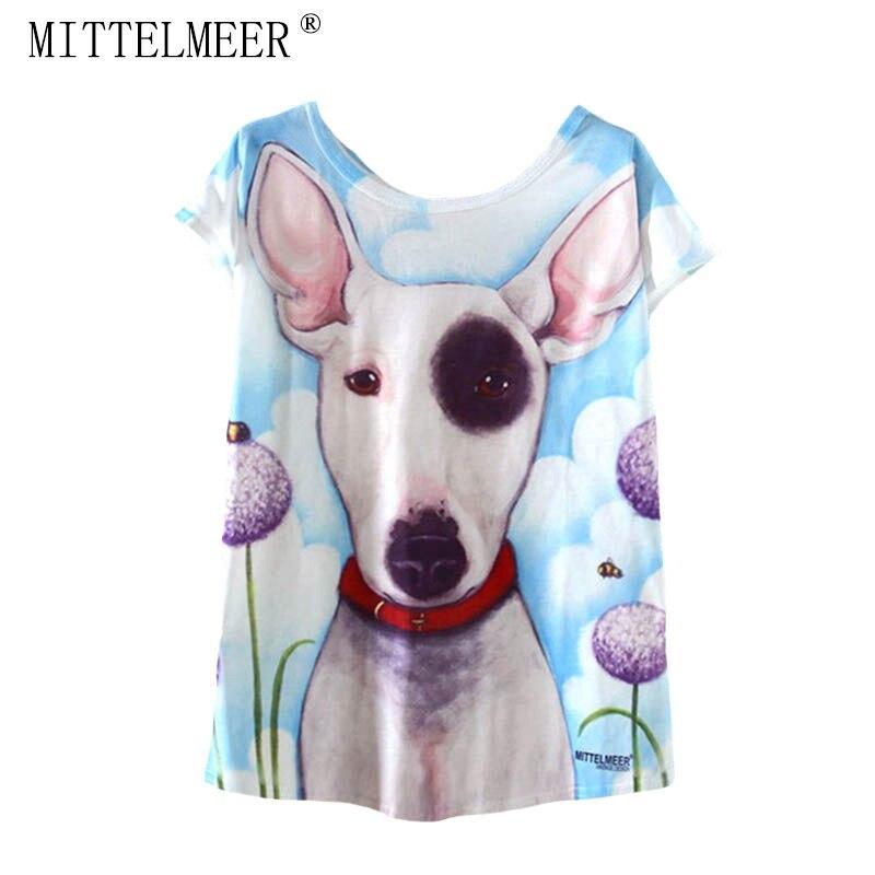 MITTELMEER New kawaii t Shirt Women harajuk Crew Neck Top Short Sleeve big dog printing T-Shirts Summer Tee For Ladies