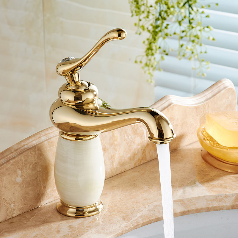 Free Shipping Luxury Brass Bathroom Faucet Cabinet Sink Basin Mixer Tap Cold Hot Water taps Gold Golden With Hardstone 22C1372