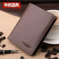 New Male Short Design Genuine Leather Wallet Vertical Cowhide Card Money Folder Man Purse For Business