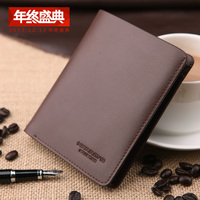 New Male Short Design Genuine Leather Wallet Vertical Cowhide Card Money Folder Man Purse For Business