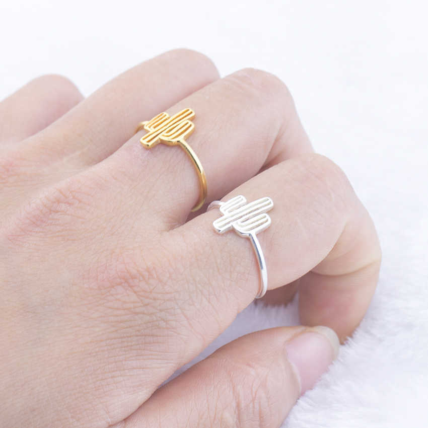 Bohemia Cactus Adjustable Ring For Women Beach Cocktail Party BFF Jewelry Mom Gifts Gold Color Plant Finger Ring Anel Masculino