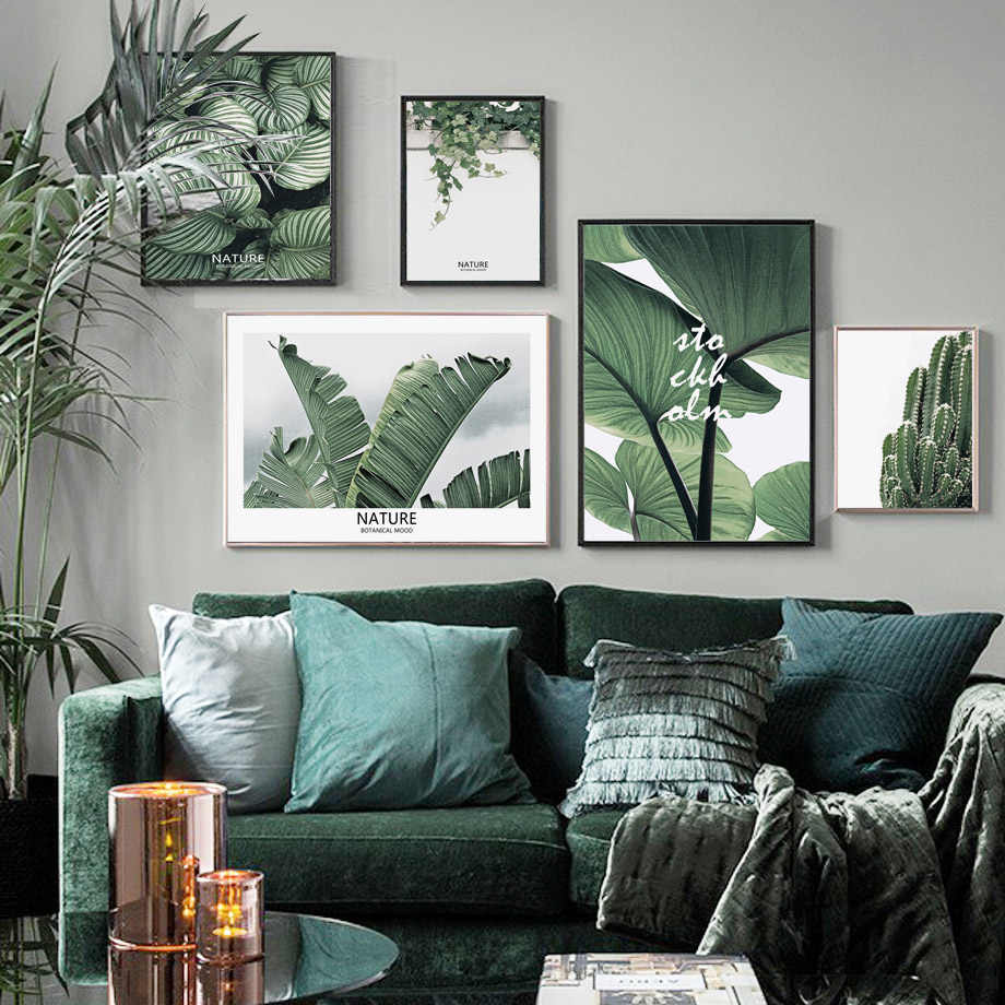 Canvas Painting Wall Art Print Tropical Big Leaves Nordic Posters And Prints Green Plant Kids Room Wall Pictures For Living Room